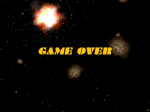 The game over screen: more py-lepton eye-candy. The explosions look good!